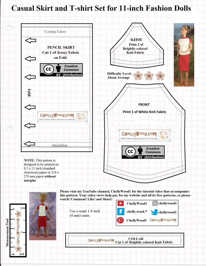 "The image shows a JPG image of a doll clothes pattern which is designed to fit 11-inch or 11 and a half inch dolls like Barbie, Liv dolls, and Disney Princess fashion dolls. The pattern has a ""Creative Commons Attribution"" mark on it, and it offers the URL ChellyWood.com (where you can download the PDF version of this pattern for free). The dolls shown on the pattern are modeling the handmade doll clothes which include a casual pencil skirt made of jersey fabric and a raglan-sleeve T-shirt also made of knit fabric. Please visit ChellyWood.com to watch the tutorial video that shows you how to make this outfit, and also to download the free PDF sewing pattern for these doll clothes."