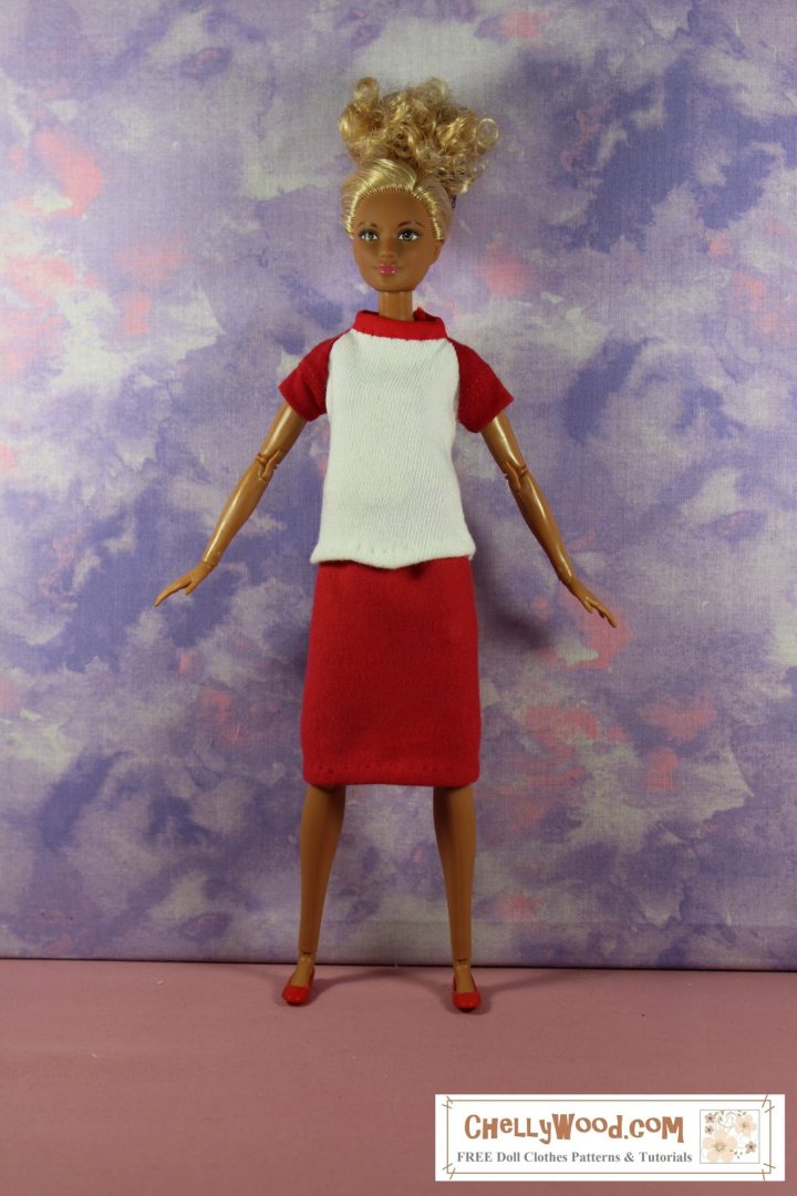The image shows a Mattel Made-to-Move Barbie wearing a handmade jersey-fabric pencil skirt in solid red and a raglan-sleeved (short-sleeved) T-shirt with red sleeves, a red collar, and an all-white front and back. She stands with hands and feet spread apart as if doing breathing exercises for a yoga class. If you'd like to make this stretchy-fabric outfit for your 11-inch or 11 and a half inch dolls, please click on the link in the caption that goes with this photo. All patterns for this outfit are free and printable as a PDF sewing pattern at ChellyWood.com