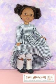 """If you want to make the boots shown here, please click on the link that's provided in the caption. The image shows a Wellie Wisher doll modeling a pair of Victorian boots with Edwardian-style """"spats"""" and tiny black buttons that appear to button them up. She's lifting the skirt of her gingham dress slightly, so the very bottom of her lace-edged bloomers are showing above the boots. The watermark reminds us that this image comes from ChellyWood.com, where you can find """"free doll clothes patterns and tutorials."""""""