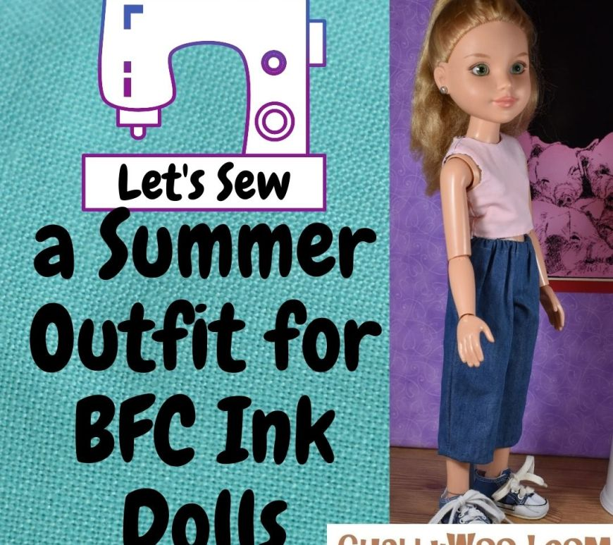 """In this graphic, we see a BFC Ink doll standing so she faces a little to our right. She wears a pink sleeveless crop top shirt (which is also reversible) and a pair of indigo blue denim cropped pants or capris. The left side of the graphic shows a white sewing machine. There are words at the bottom of the sewing machine which say, """"Let's sew..."""" followed by """"a summer outfit for BFC Ink dolls."""" The watermark in the corner of the graphic image tells where you can go to get the free printable PDF sewing patterns for making this outfit: ChellyWood.com"""