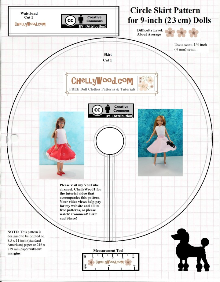 """This is the JPG image of a circle skirt pattern which can be downloaded as a free PDF sewing pattern for making skirts to fit most 9 inch girl fashion dolls like vintage Skipper, Mattel's Stacie dolls, and more. The pattern includes the circle skirt, a waistband, and a poodle image to be traced onto felt (for making poodle skirts). Note that the image is marked with the """"Creative Commons Attribution"""" symbol and is watermarked """"Chelly wood dot com"""" to remind you who to give credit to, should you decide to use this free pattern."""