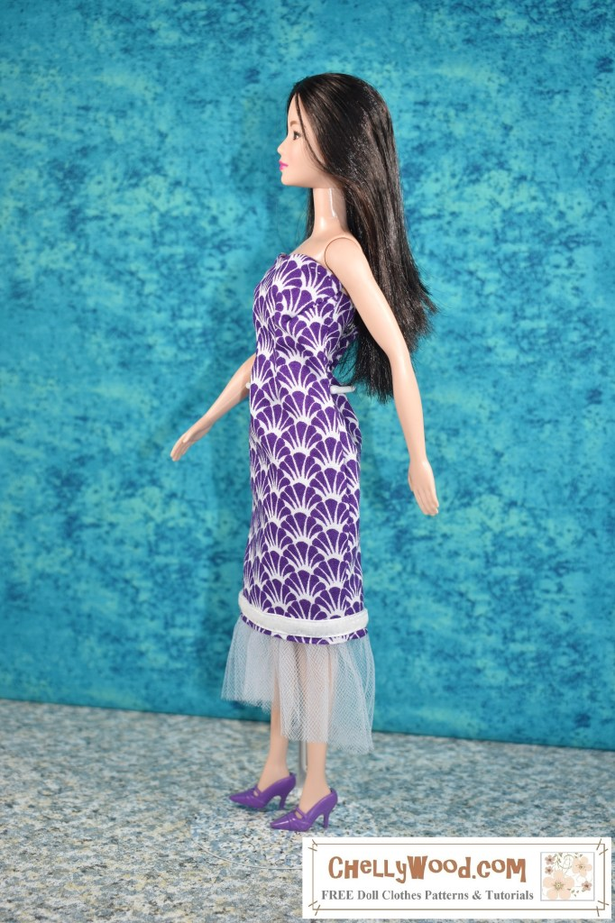 In this side view of Mattel's modern Barbie, we see that the dress, which fit snugly on a vintage SuperStar Barbie is somewhat looser in the waist and bust for this doll.