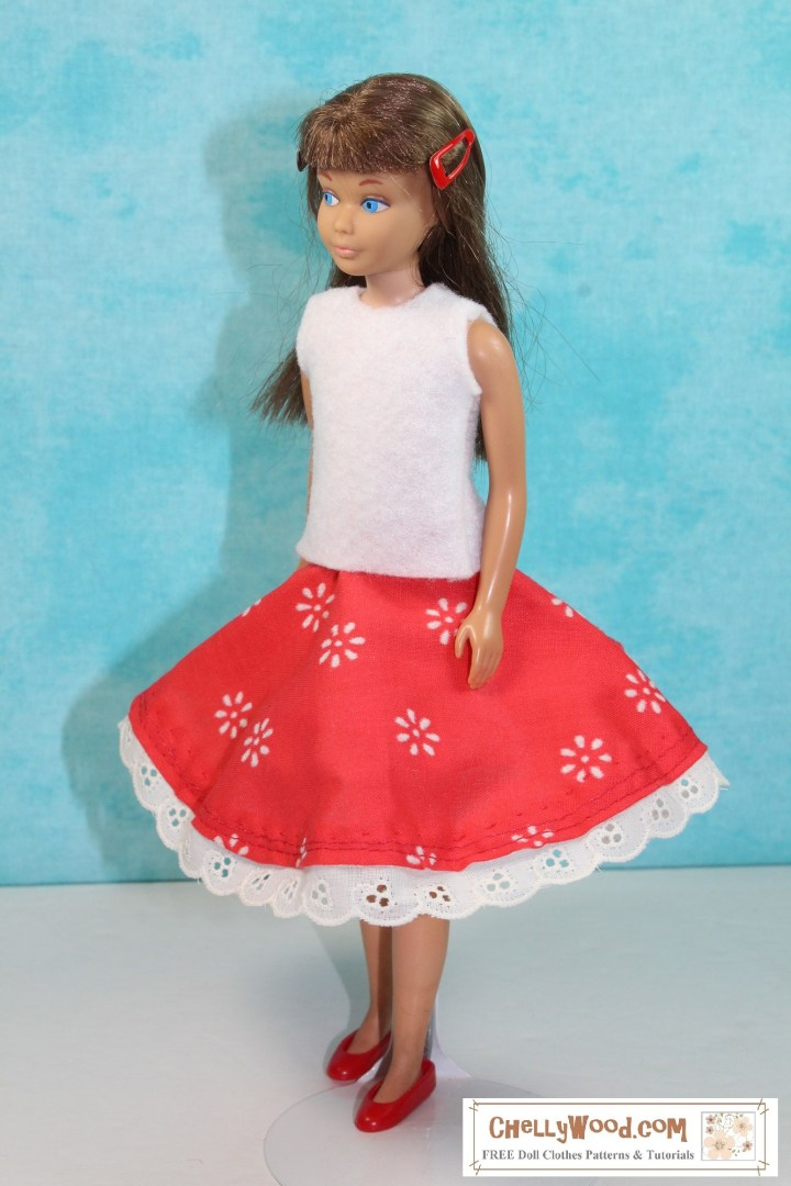 The image shows a Mattel vintage Skipper doll wearing handmade doll clothes including a red circle skirt with eyelet trim and a white felt sleeveless shirt. Would you like to make this outfit? Please click on the link in the caption, and it will take you to a page where you'll be able to download and print free printable PDF sewing patterns for making these doll clothes to fit your 9 inch dolls like Mattel's vintage Skipper dolls.