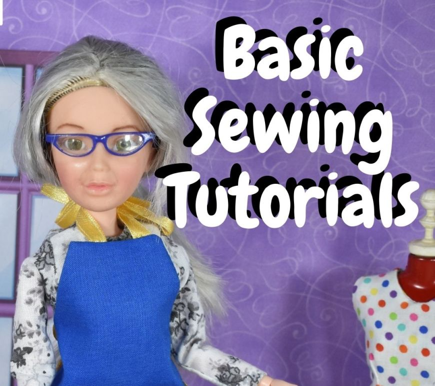 """This preview for a blog post about sewing basics shows a close-up of the Chelly Wood doll in her little blue apron. She stands beside her sewing room's dress form. The words in the overlay say, """"Basic sewing tutorials."""""""