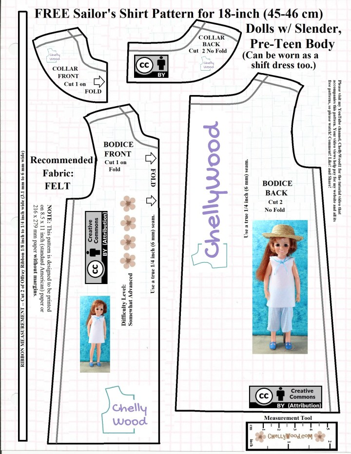 The image shows the free printable sewing pattern for a short shift dress or long sailor's tunic to be worn by 18-inch (45 to 46 cm) dolls with slender pre-teen bodies, like Ideal's Crissy dolls from the 1970's. The pattern includes a long bodice, a sailor-style collar, and a ribbon measurement.