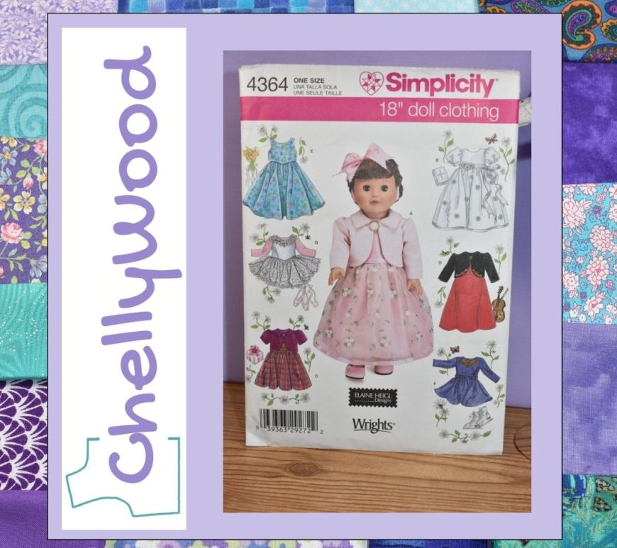 """The square turquoise-and-purple frame looks like a miniature quilt frame surrounding the image of Simplicity doll dress pattern number 4364 and the new Chelly Wood logo. Visit ChellyWood.com to read the article that accompanies this image, entitled, """"What are the easiest doll dress patterns to sew?"""""""
