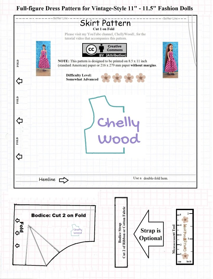 The image shows a JPG image of a free printable PDF sewing pattern for making a sundress to fit vintage Barbie or vintage Tammy dolls (among others). To see a full list of all the dolls that can wear this dress, please visit ChellyWood.com