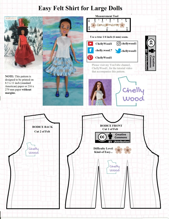 Here we see the JPG image of a felt sleeveless shirt pattern which will fit Lammily and some 17 inch fashion dolls. The shirt pattern has darts and fairly simple stitches. It offers a difficulty scale with two flowers, which indicates it's pretty easy to sew. Three dolls are shown wearing felt shirts made using this pattern: a Lammily doll, a Tonner fashion doll, and the brunette version of the 17 inch Endless Hair Kingdom Barbie dolls.