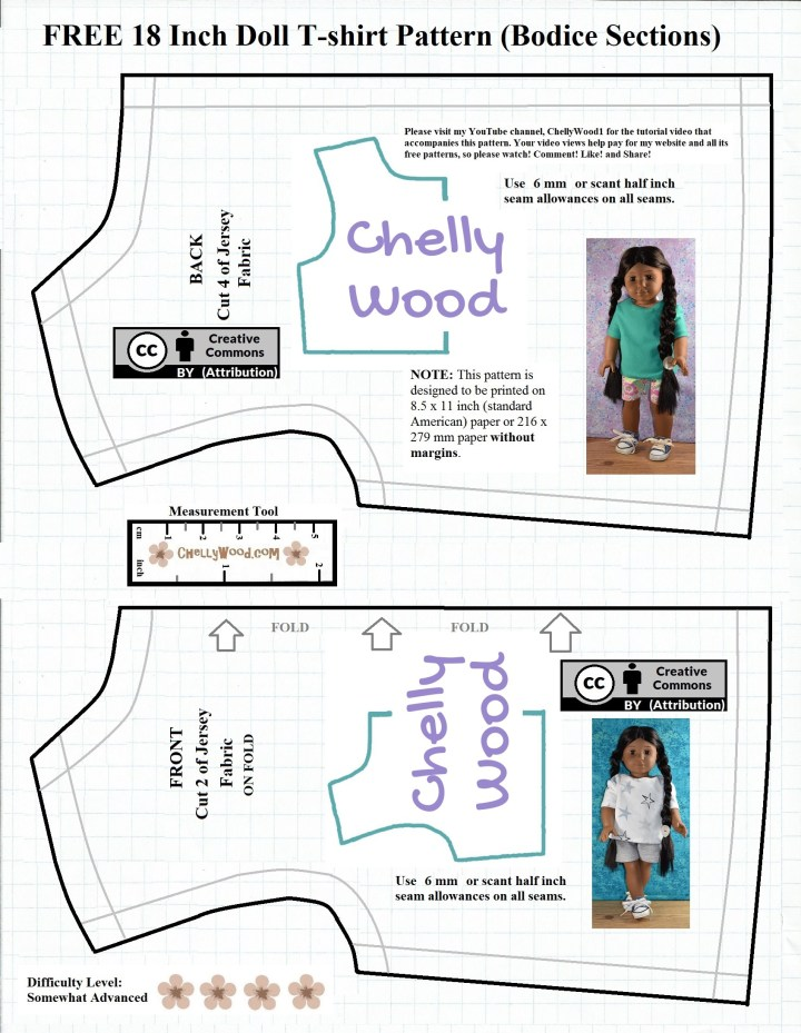 Here we see the bodice front and back for a tee shirt pattern designed to fit most 18 inch dolls like American Girls, Amazon Amazing Girls, Journey Girls, and more. Visit ChellyWood.com for this and other free printable doll clothes sewing patterns and tutorial videos that show you how to sew them.