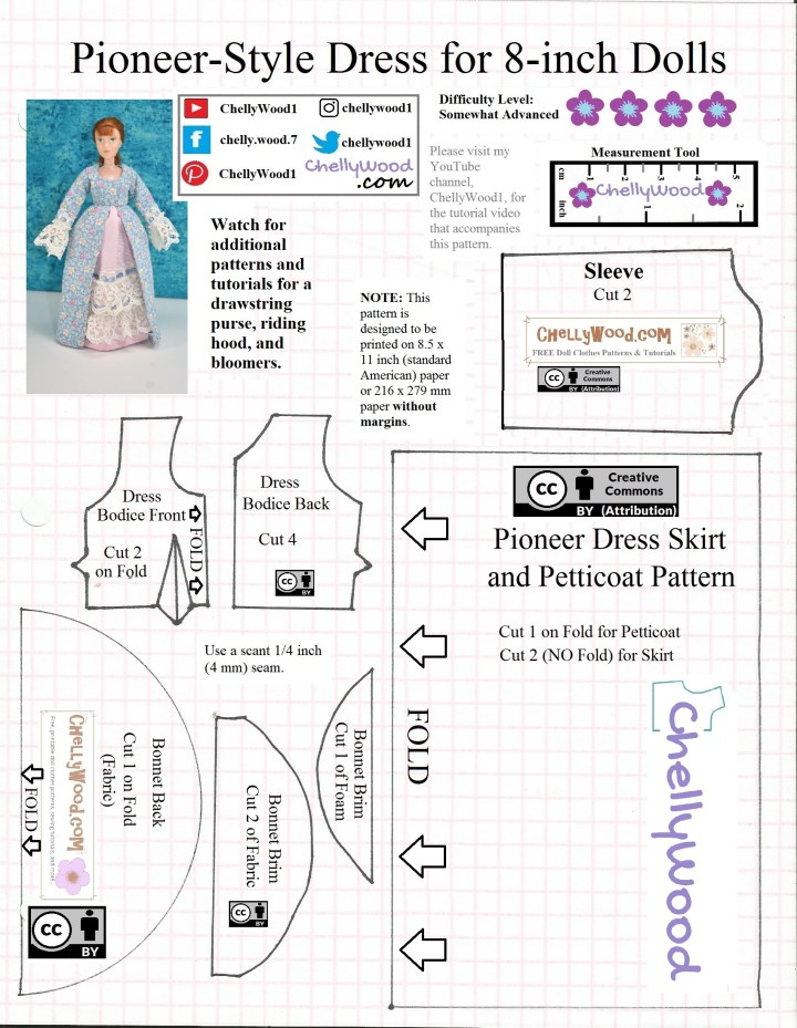 This is the JPG image version of a free printable PDF sewing pattern for a pioneer style long dress to fit 8 inch dolls. The pattern includes a bonnet pattern as well, and it's marked with Creative Commons Attribution marks. Visit ChellyWood.com for free printable PDF sewing patterns for this and other doll clothes.