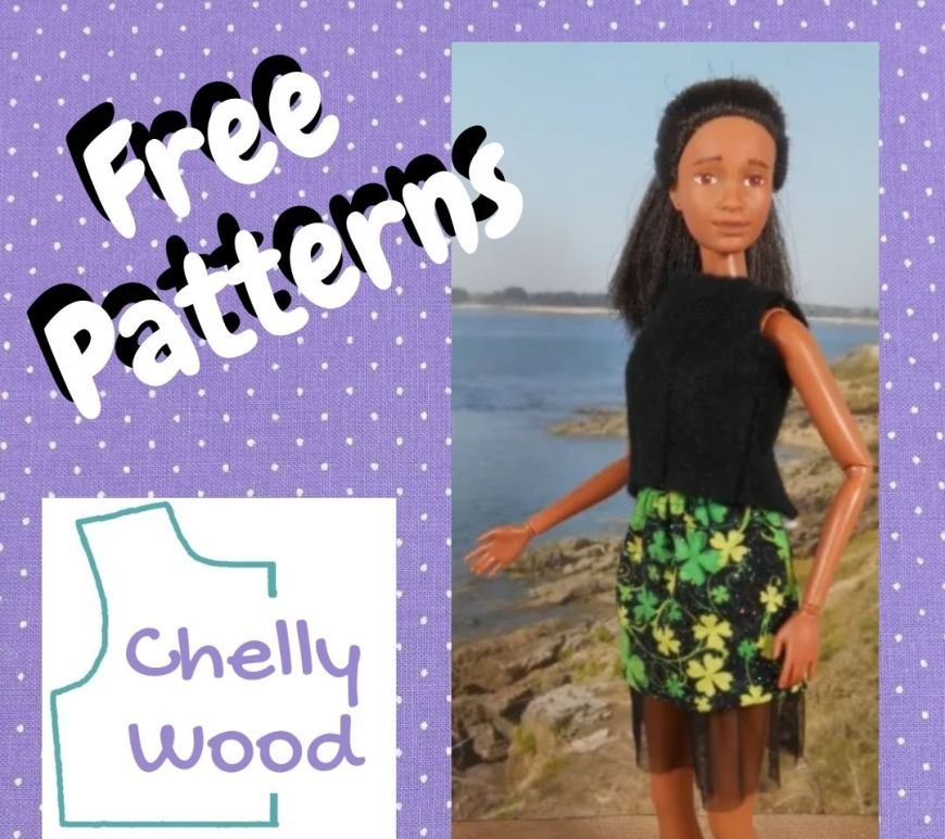 """This is a purple square frame around the words """"free pattern,"""" the Chelly Wood dot com logo, and a photo of a Barbie wearing a felt shirt and a miniskirt with tulle petticoat."""