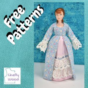 """Along with the words """"free patterns"""" we see a Breyer Rider 8 inch articulated doll wearing a 19th century gown with lace trim and a scoop neck. The photo is watermarked with """"Chelly Wood"""" (the name of a doll clothing designer whose website, ChellyWood.com, offers free printable sewing patterns for making doll clothes to fit dolls of many shapes and all different sizes."""