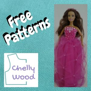 """The image shows a Teresa doll from Mattel wearing a handmade quinceanera dress made of pink cotton with an overlaid pink tulle layer that uses a crisscross gathered rucheting method of making the skirt quite full. Also, the bodice is dotted with tiny white beaded flowers and there are matching tiny white beads where the tulle of the skirt's top layer has been gathered. The overlay says, """"free patterns"""" and reminds us that this dress can be made using the free PDF sewing pattern and tutorial video found at Chelly Wood dot com."""