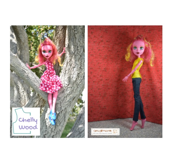 This is the featured image for a page that offers a gallery of different doll clothes patterns that are free on the internet. It shows Gooliope Jellington the 17 inch doll in two different outfits including a summer dress and a pair of jeans with a shirt. These patterns are free and printable at Chelly Wood dot com