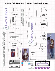 Here we see the JPG image of an 8 inch doll Western clothes sewing pattern with images of a Breyer Rider doll wearing the clothes. The pattern is marked with a Creative Commons Attribution mark and the Chelly Wood logo. The pattern appears to be needed to make a pair of boot-cut jeans and a western shirt. The shirt doesn't have a collar but the pattern includes one. The shirt shown in photos on the Breyer Rider doll shows white fringe hanging down from the white yoke at the neckline and front of the shirt. The fabric under the yoke is a brown cotton with tiny white stars. On the pattern we see two bodice pieces, a collar, two yokes (a front and back), a sleeve, a cuff, a jeans pattern, and a pocket pattern for the jeans. The difficulty level scale shows five flowers, indicating that this shirt is very difficult.