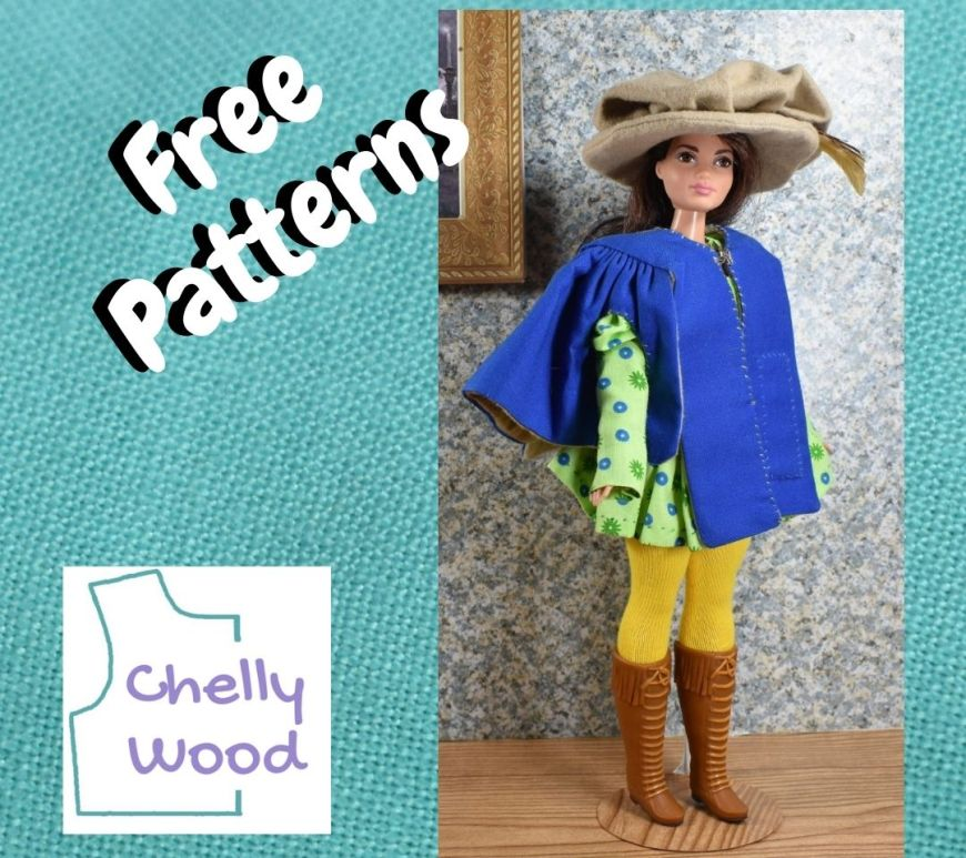 """On a square of turquoise blue linen fabric, we see the words """"free patterns"""" alongside the ChellyWood.com logo. To the right of these is a photo of a Curvy Barbie (trademarked by Mattel) wearing the following handmade doll clothes: a Renaissance hat with a feather in it, a long-sleeved tunic with puffy sleeves, a pair of leggings, a pair of leather lace-up boots, and a jacket with many gathers. The doll clothes remind us of Alexander (or Alexandre) Dumas."""