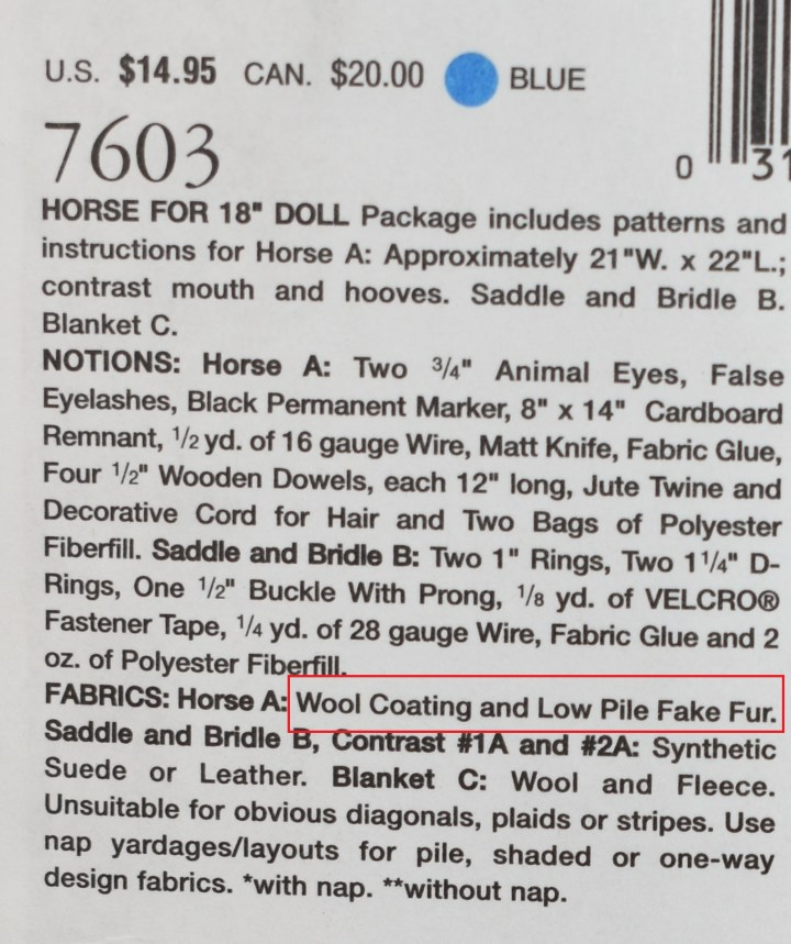 """Here we see text from Vogue doll collection pattern #7603. There's a red rectangle around the text that suggests fabrics for the horse pattern: """"Wool coating and low pile fake fur."""""""