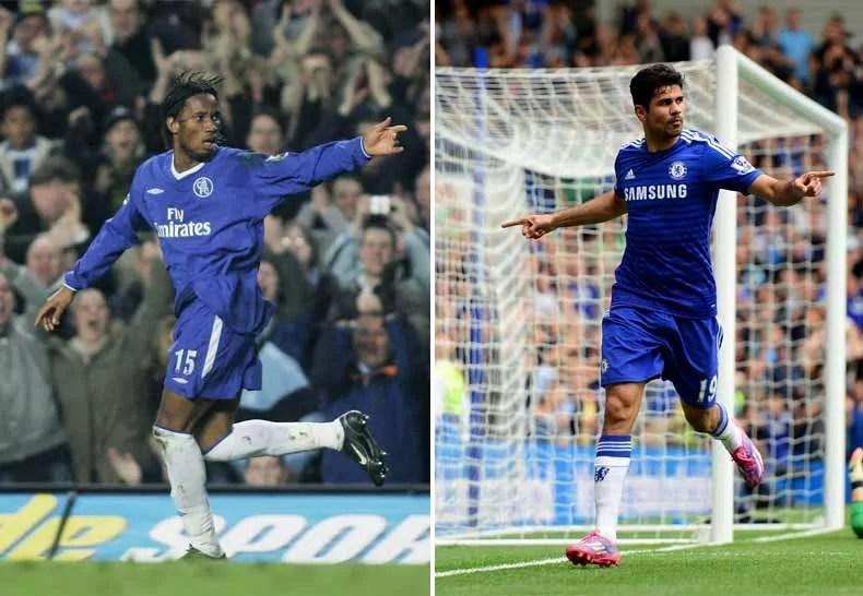 Didier Drogba (esquerda) e Diego Costa reforçaram o Chelsea como atacantes 'matadores' em seus 20 e poucos anos (Foto: Getty Images)