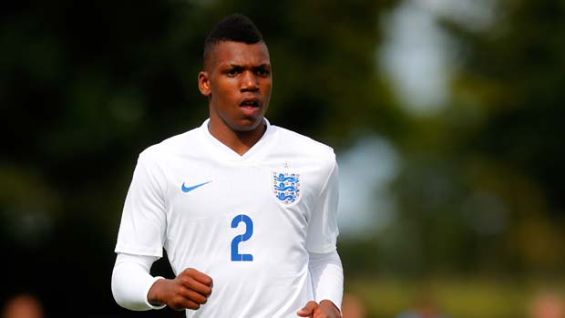 BURTON-UPON-TRENT, ENGLAND - AUGUST 20: Dujon Sterling of England U16's in action during the International U16 fixture between England and Belgium at St George's Park on August 20, 2014 in Burton-Upon-Trent, England. (Photo by Paul Thomas/Getty Images)