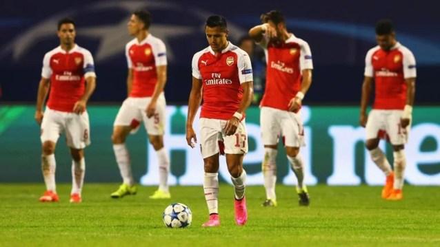 Jogadores do Arsenal tristes com péssimo resultado em Zagreb. (Foto: Skysports)