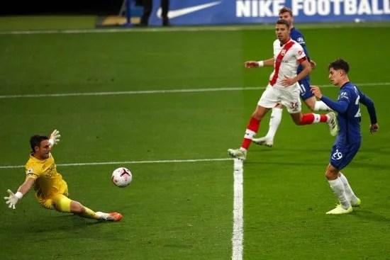 Kai Havertz fez o terceiro gol do Chelsea no jogo. Anteriormente, o Southampton tinha igualado o marcador.