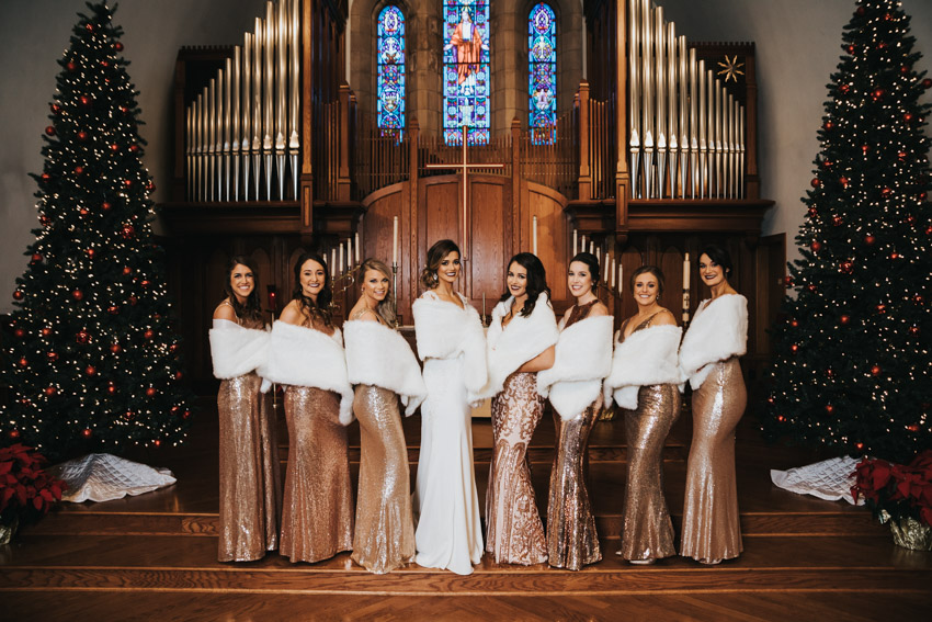 Different but cohesive bridesmaid dresses