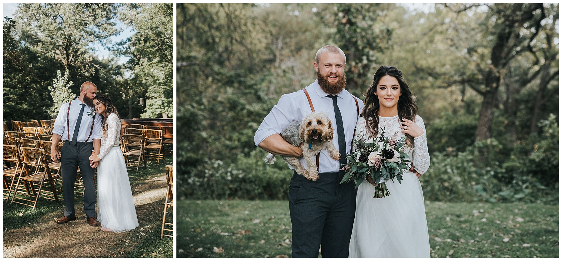 Bride and groom with their pup, Carter