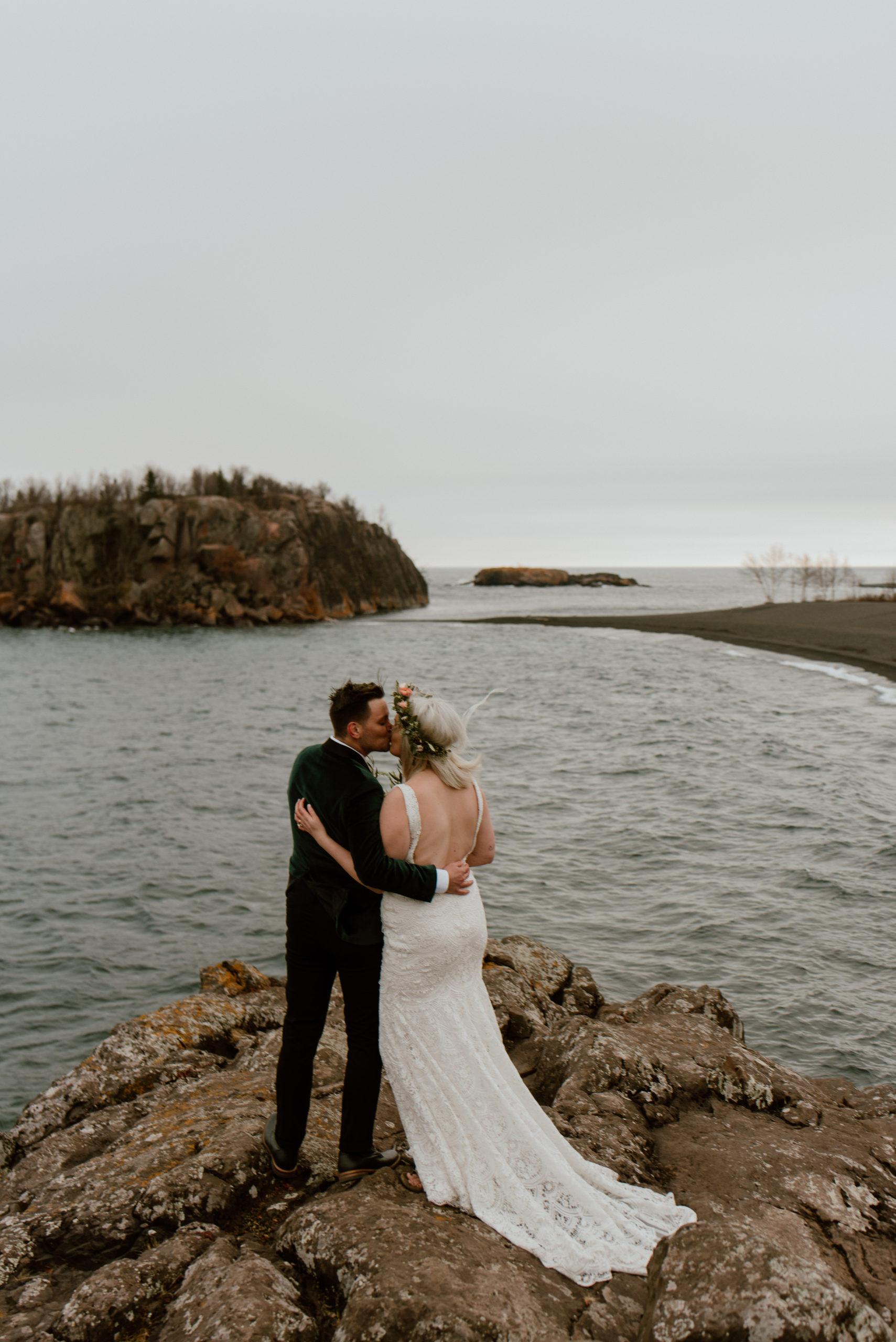black beach elopement