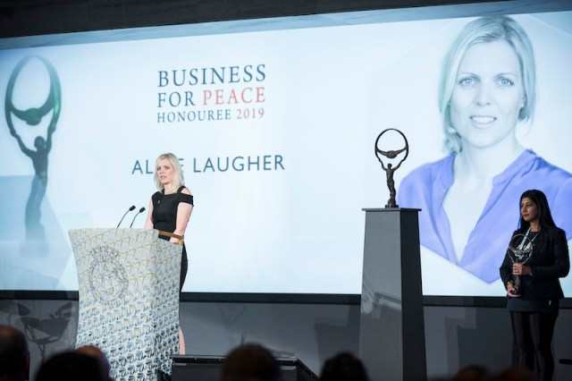 Alice Laugher CEO CTG honoured with Oslo Business For Peace Award