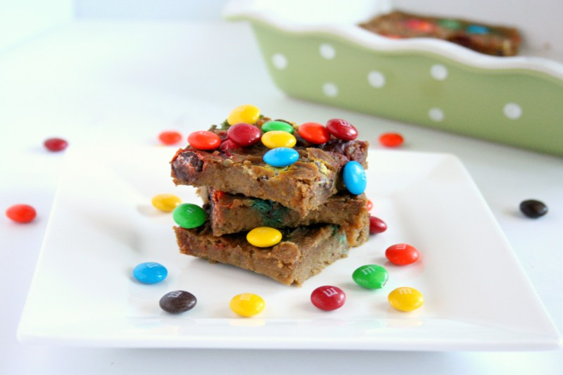 A healthy blondie? Oh yes! My Healthy M&M Blondies are flour-less and packed with fiber and protein. All thanks to one special ingredient!