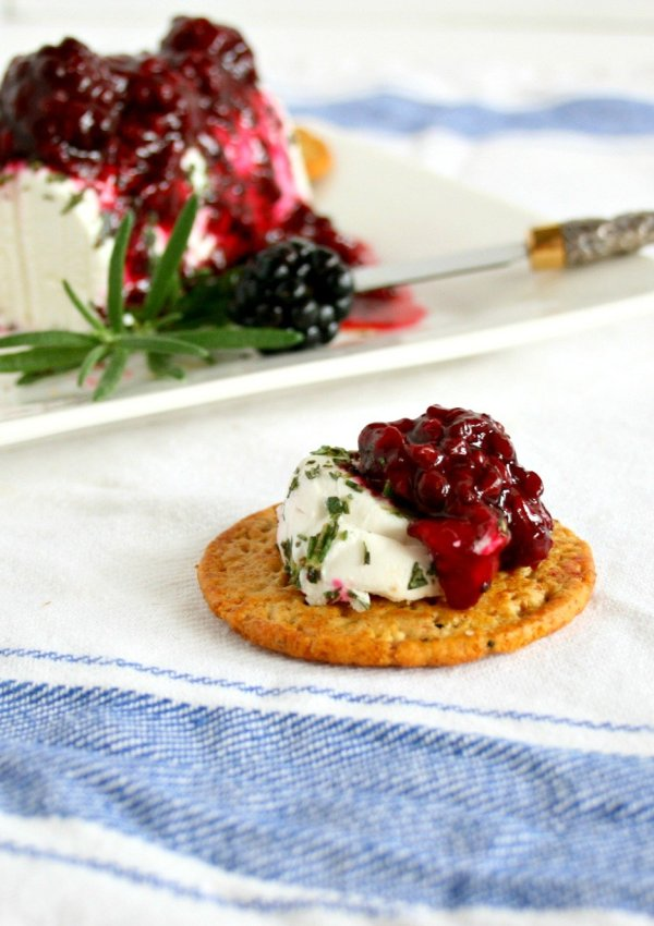 Blackberry and Rosemary Goat Cheese Bites