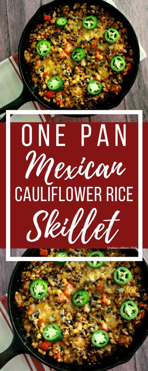 #AD One skillet + 12 ingredients + 30 minutes = one delicious and nutritious dinner the whole family will love. My one pan Mexican cauliflower rice skillet is a nutrient packed meal that will have dinner on your kitchen table in no time.