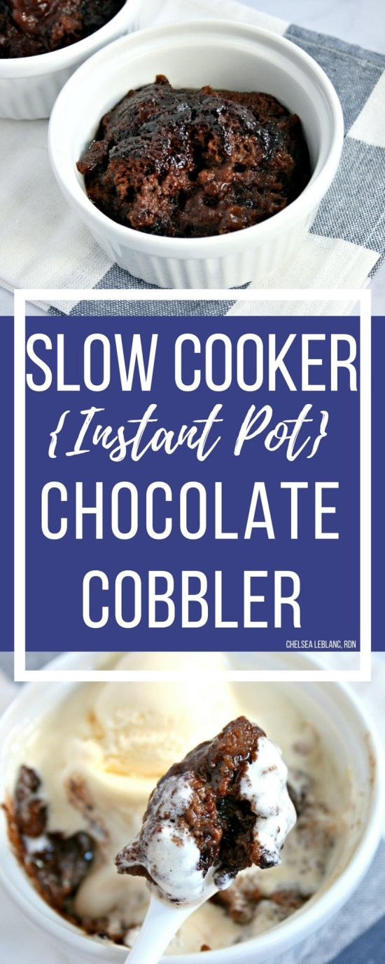 #ADIf  you like oooey, gooey, fudgey chocolate brownies,  you will love my Instant Pot Chocolate Cobbler. This decadent slow cooker dessert is easy to make and has less calories than the traditional dish.