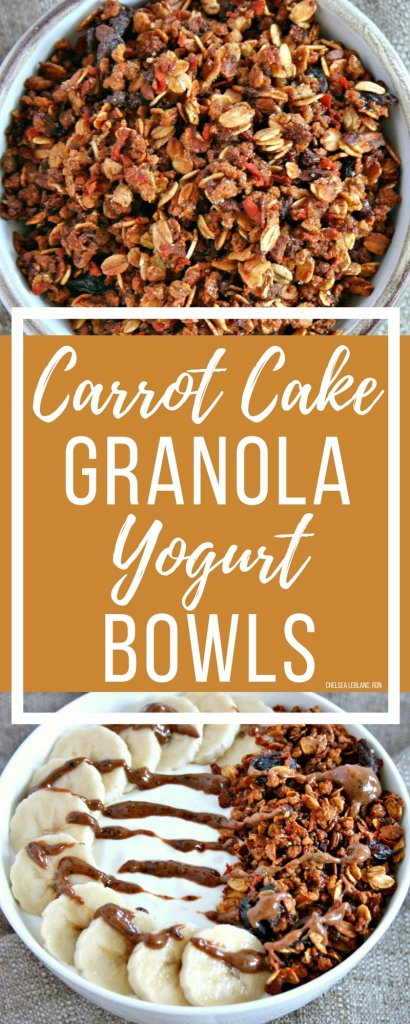 Cold and flu season is here again. Fight back with foods that boost gut health. My carrot cake granola yogurt bowl is a delicious place to start! #thereciperedux #yogurt #granola #carrotcakegranola