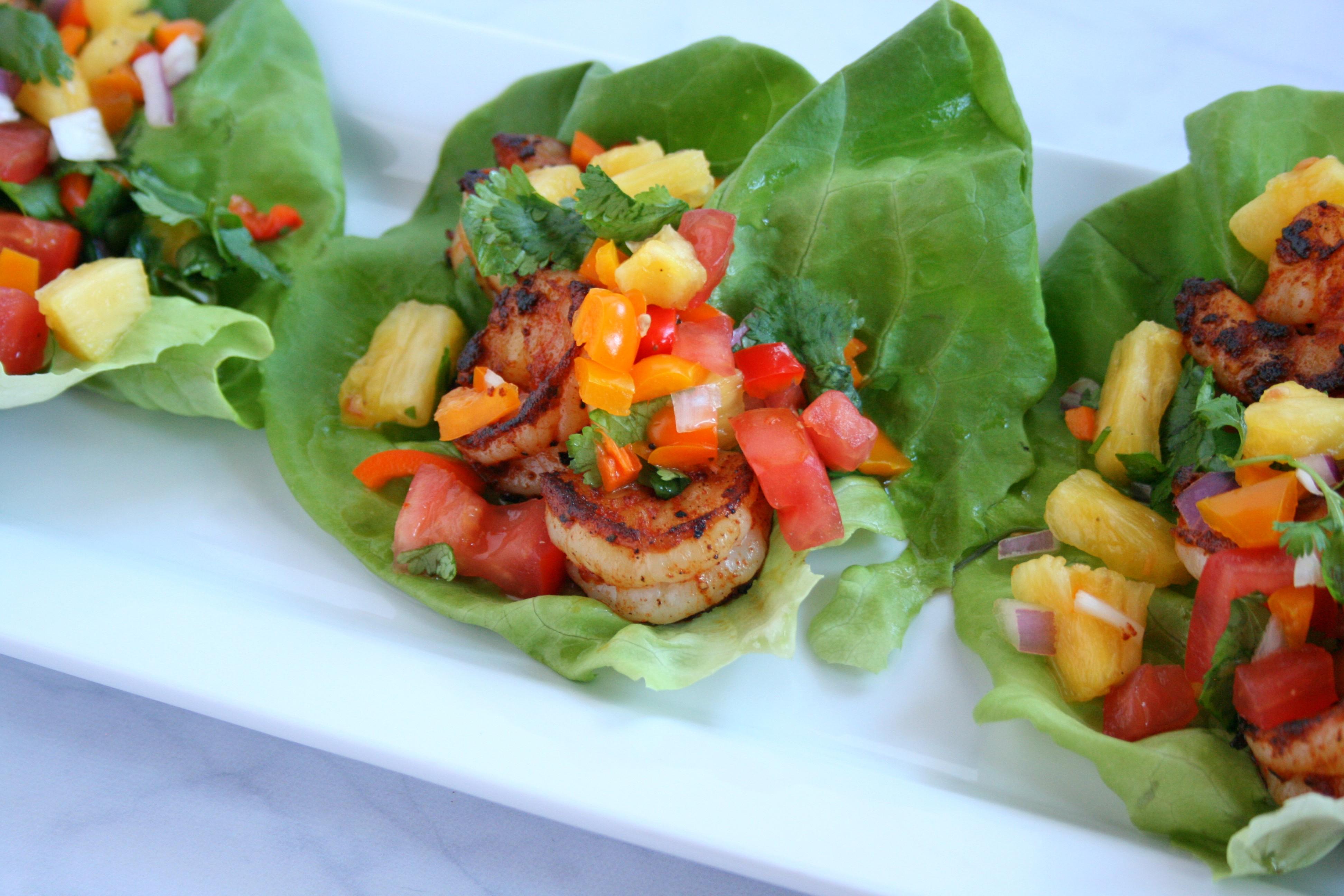 Tropical Shrimp Lettuce Wraps With Tropicana Fresh -4319
