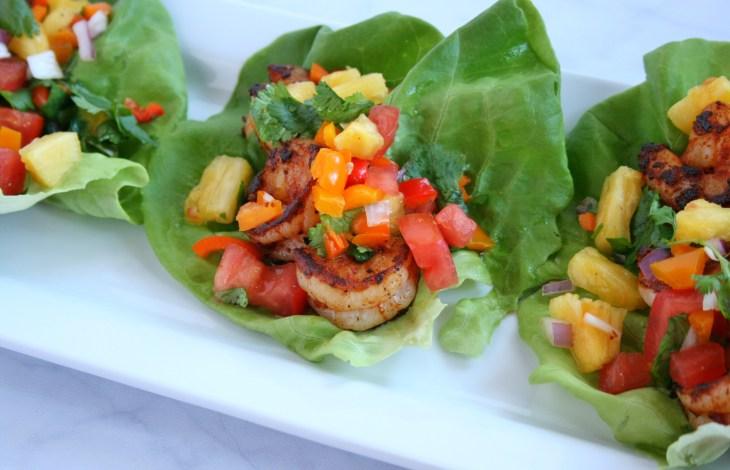 Tropical Shrimp Lettuce Wraps with Tropicana® Fresh Pineapple Salsa