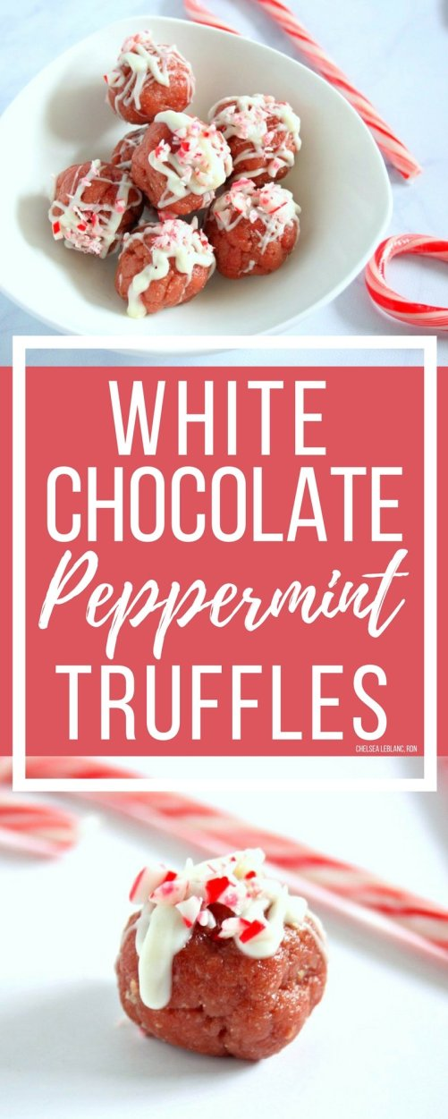 The holidays are officially here! Make these protein packed, no bake white chocolate peppermint truffles for your next cookie exchange or holiday event.#thereciperedux