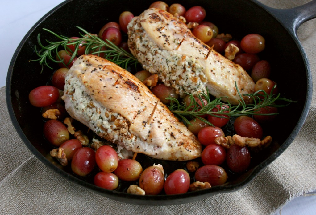 Spice up your normal dinner routine with this Stuffed Chicken Breast with Grapes, Goat Cheese, and Walnuts recipe. In just under 40 minutes, this simple, but elegant entrée is table ready.