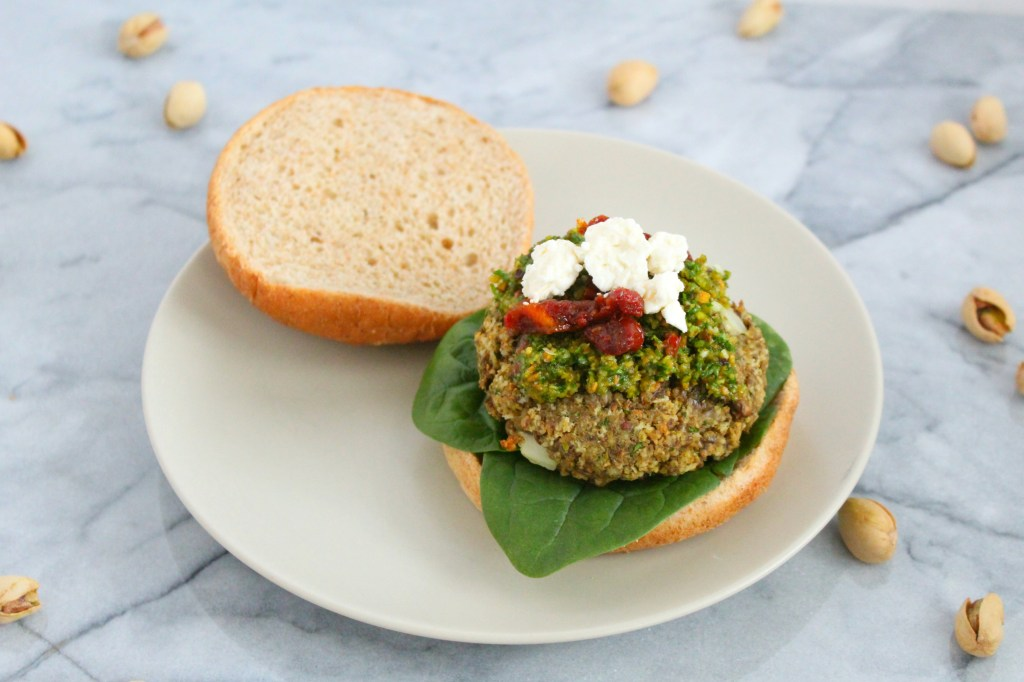 February is American Heart month. I'm putting a healthy twist on an American classic- burgers. My Pistachio Lentil Burgers are packed with flavor so you won't even miss the real thing.