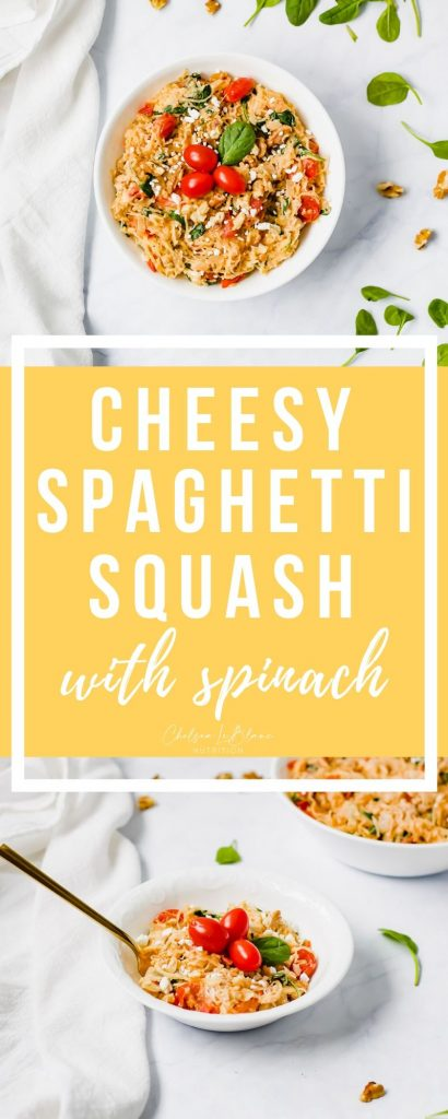 If you like creamy pastas, this cheesy spaghetti squash with spinach recipe is for you! Made with tomatoes, goat cheese and walnuts for a healthy, but delicious twist.