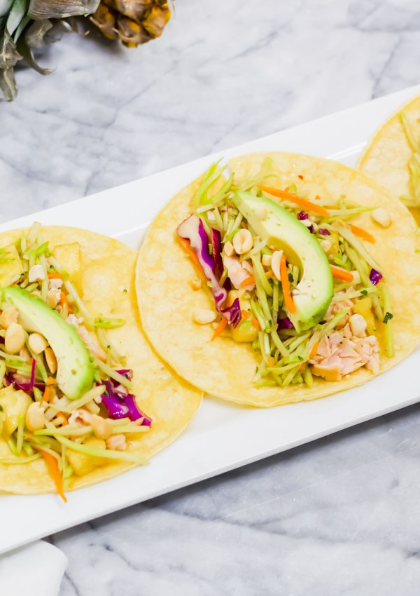 Easy Salmon Tacos with Pineapple Broccoli Slaw