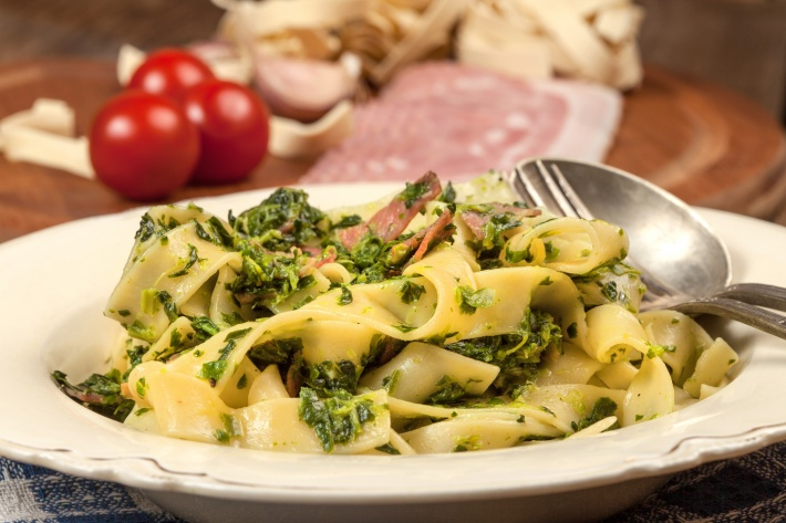 Bacon Spinach and Pasta