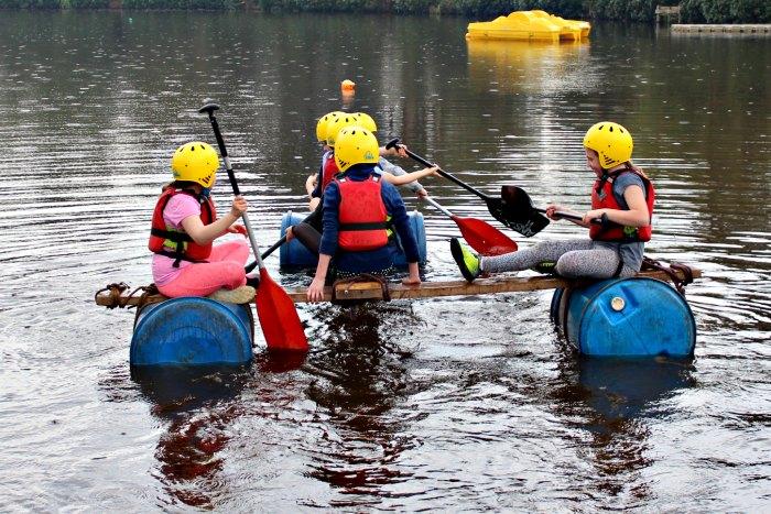 Raft on lake, Avon Tyrrell