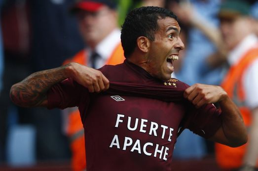 Carlos+Tevez+celebrates+after+scoring+during+their+Community+Shield+soccer+match+against+Chelsea+at+Villa+Park