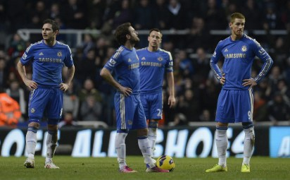 Chelsea's Lampard, Mata, Terry and Torres react after Newcastle's Sissoko scored during their English Premier League soccer match in Newcastle