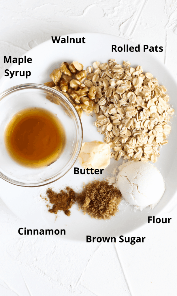 Ingredients, laid out, for this Skillet Apple Crisp topping on a cutting board