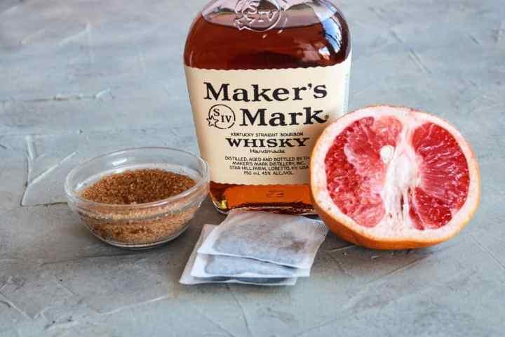 Ingredients for Grapefruit Bourbon Ice Tea