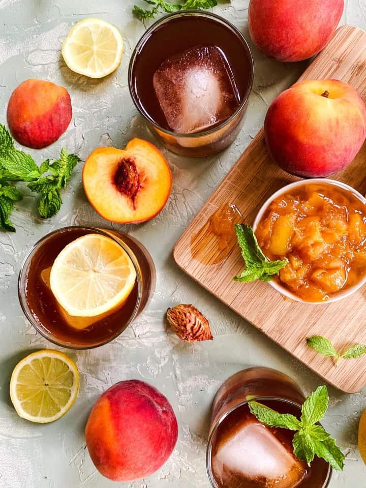 Peach Bourbon Sweet Ice Tea