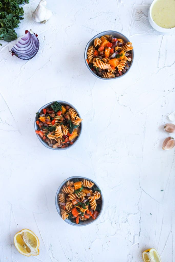 Fall Harvest Pasta Salad in three bowls