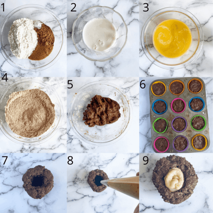 9 pictures showing the steps to make the cupcakes